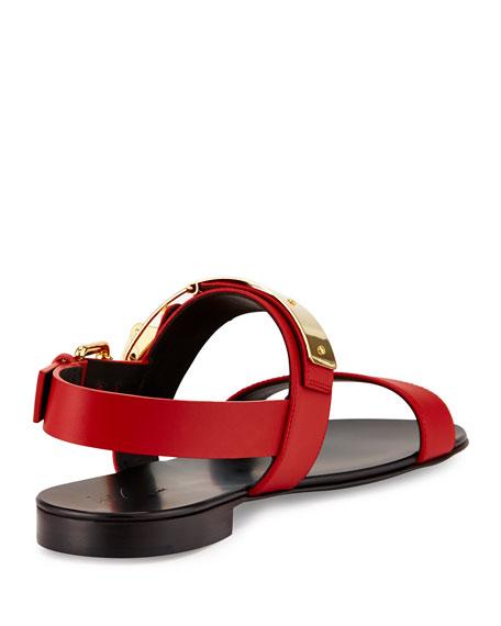 Men's Ski-Buckle Leather Strap Sandal