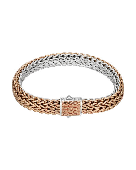 Bronze/Silver Reversible Woven Chain Bracelet