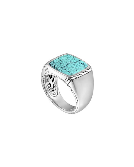 John Hardy Silver & Turquoise Signet Ring
