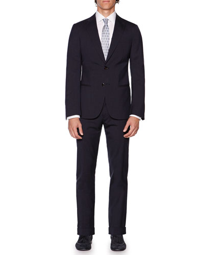 Wall St. Box-Check Suit, Navy
