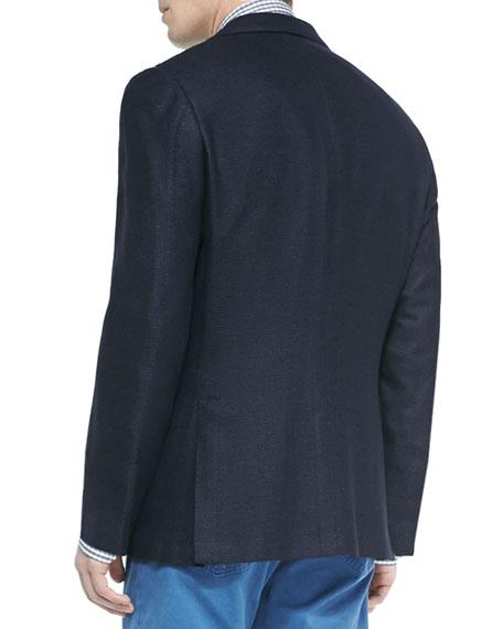 Kiton Textured Three-Button Sport Coat, Navy