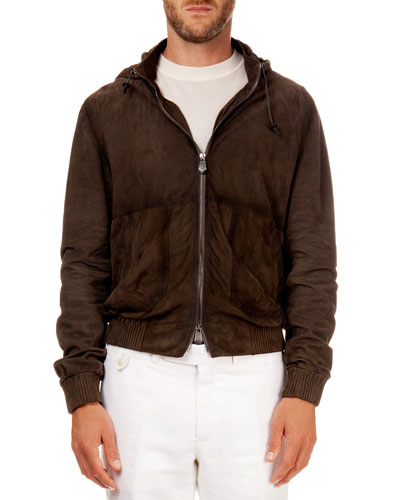 Hooded Suede Bomber Jacket, Brown