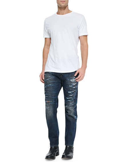 True Religion Dean Relaxed Destroyed Denim Jeans, Dark Blue