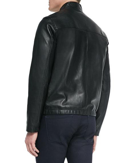 Theory Men's Morvek Zip-Front Leather Jacket
