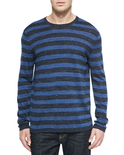 Long-Sleeve Striped Crewneck Sweater, Navy/Blue