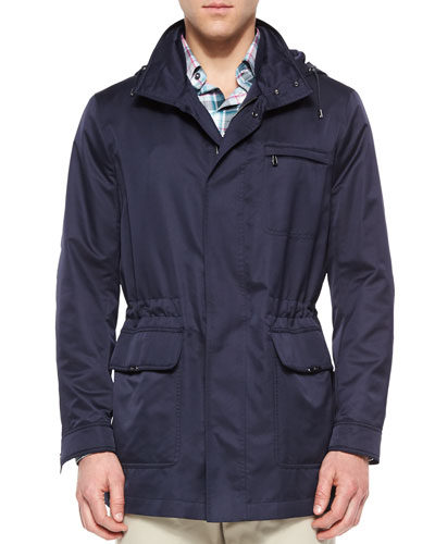 Nylon Car Coat with Removable Hood, Navy