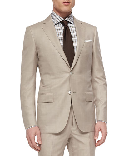 Trofeo Wool/Silk Solid Two-Piece Suit, Tan