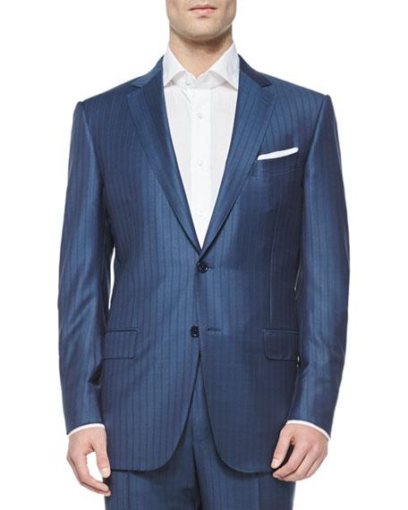 Ermenegildo Zegna Trofeo Wool Tonal-Stripe Suit, Blue