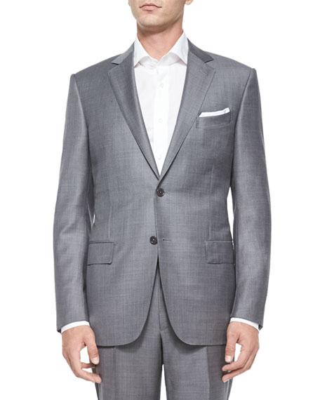 Ermenegildo Zegna Trofeo Wool Sharkskin Suit, Gray