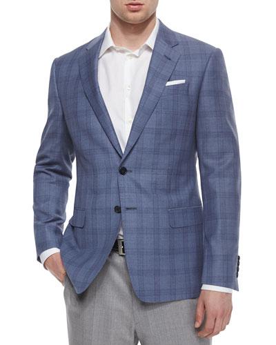 G-Line Windowpane-Check Jacket, Light Blue