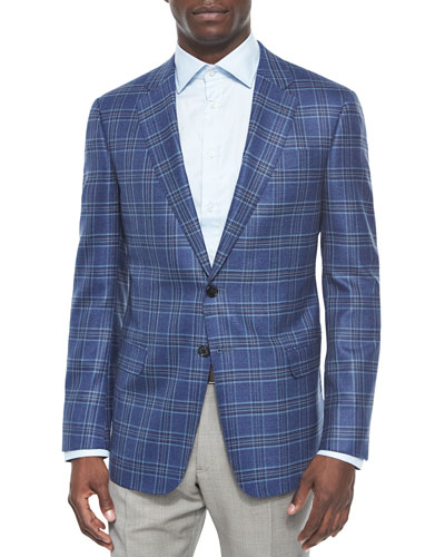 G-Line Plaid Two-Button Jacket, Bright Blue/Brown