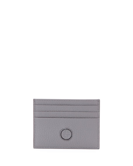 Giorgio Armani Leather Credit Card Case, Pewter