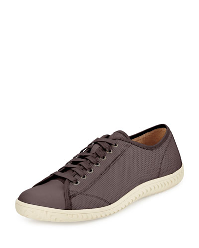 Hattan Low-Top Leather Sneaker, Gray