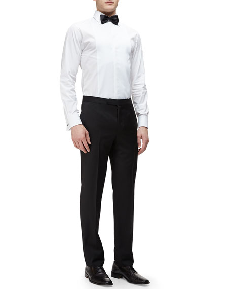 Ermenegildo Zegna Satin-Taped Formal Wool Trousers, Black