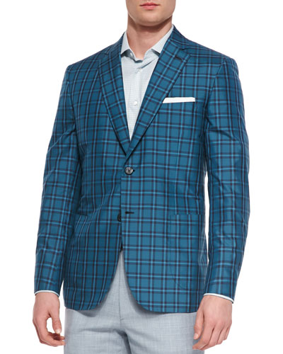 Plaid Silk Jacket, Teal/Green