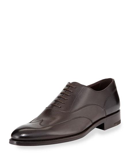 Ermenegildo Zegna Leather Wing-Top Oxford, Dark Brown