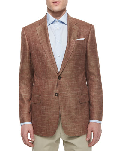 G-Line Textured Solid Sport Jacket, Rust