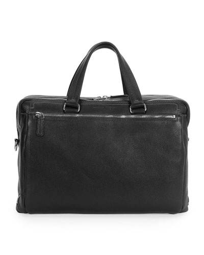 Single-Gusset Leather Briefcase, Black