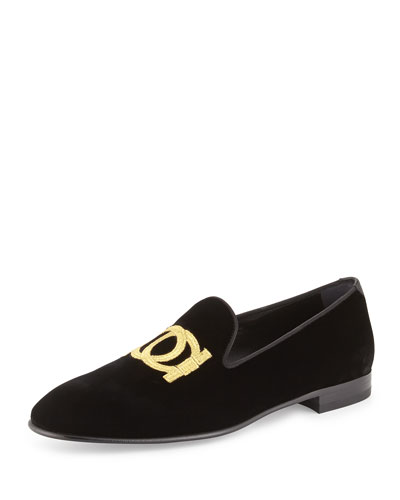 Salvatore Ferragamo	 Gancini Velvet Slip-On Loafer, Black