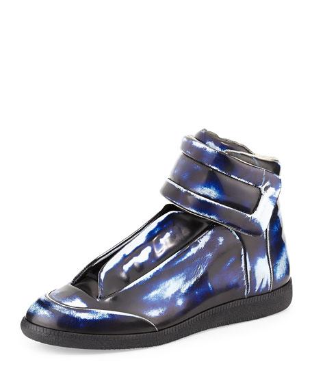 maison margiela brushed effect high top sneaker blue. Black Bedroom Furniture Sets. Home Design Ideas