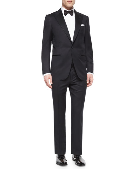 Peak-Lapel One-Button Wool Tuxedo, Black