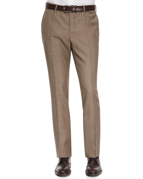 Incotex Benson Sharkskin Wool Trousers, Taupe