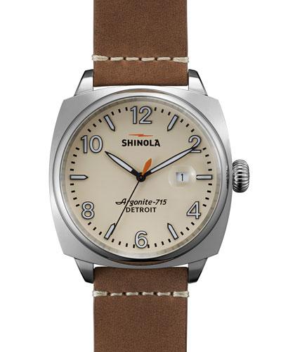 46mm Brakeman Watch, Brown/Cream