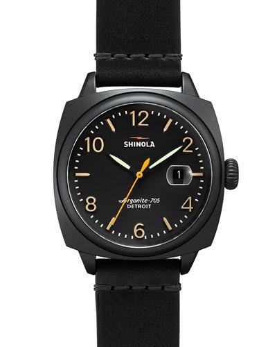 40mm Brakeman Leather Strap Watch, Black/Black