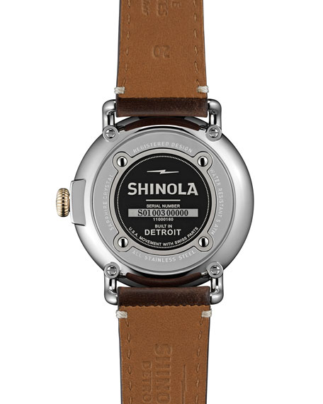 41mm Runwell Gold Watch with Leather Strap, Brown