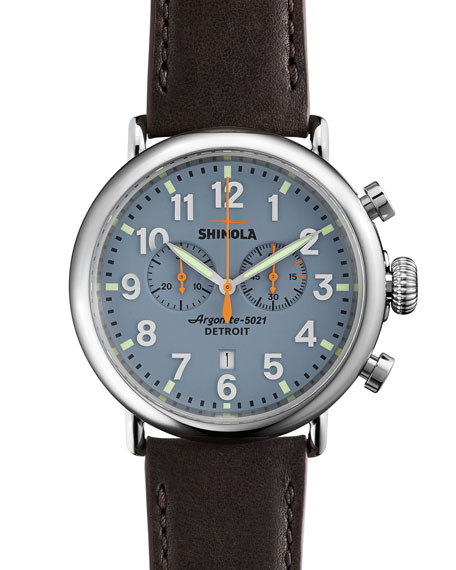 Shinola 47mm Runwell Chrono Watch, Dark Brown/Blue