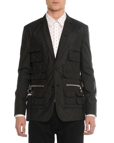 Givenchy Utility-Pocket Nylon Blazer, Black