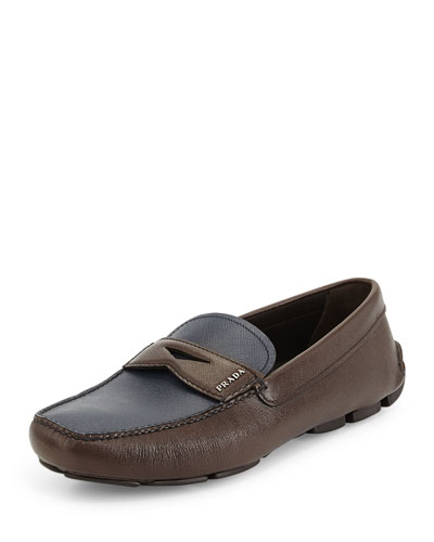 Saffiano Two-Tone Penny Driver Shoe, Brown/Blue