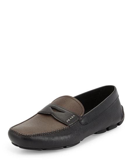 Prada Saffiano Two-Tone Leather Penny Driver, Black/Brown