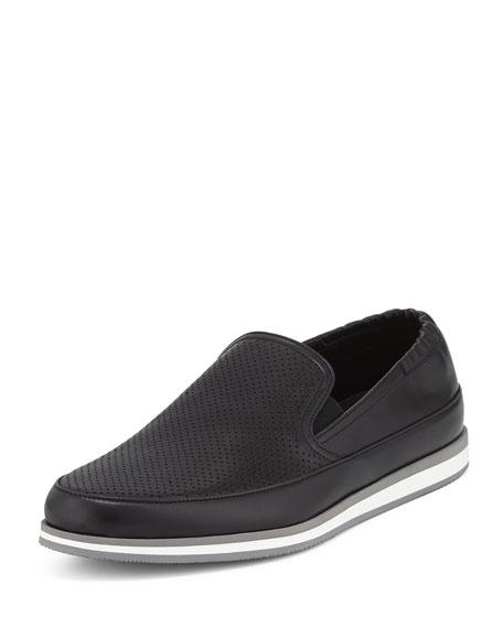 Prada Perforated Leather Slip-On Loafer, Black