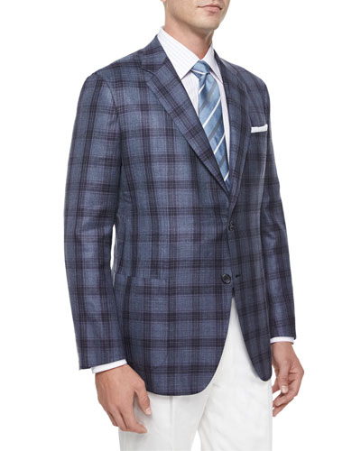 Plaid Two-Button Jacket, Blue/Navy/Purple