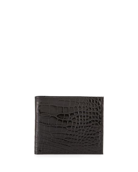 Neiman Marcus Alligator Bi-Fold Wallet, Black