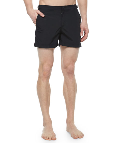 Bulldog Mid-Length Tailored Swim Shorts, Black