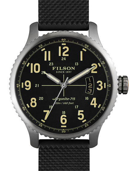 Filson Mackinaw Field 43mm Watch with Rubber Strap, Black