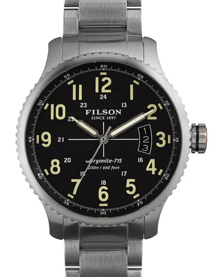Filson 43mm Mackinaw Field Link Bracelet Watch, Black