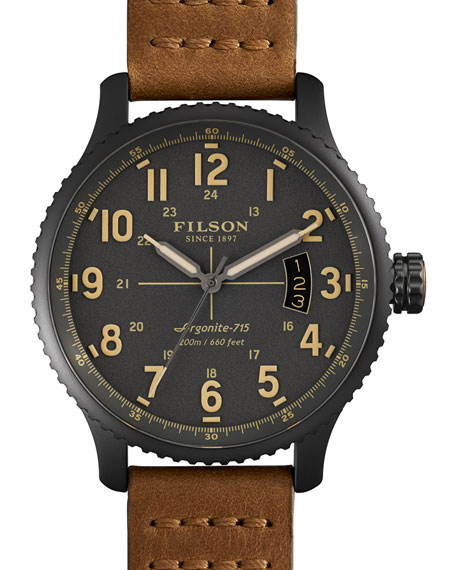 Filson 43mm Mackinaw Field Watch with Leather Strap,