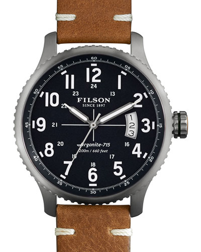 43mm Mackinaw Field Watch with Leather Strap, Brown/Navy
