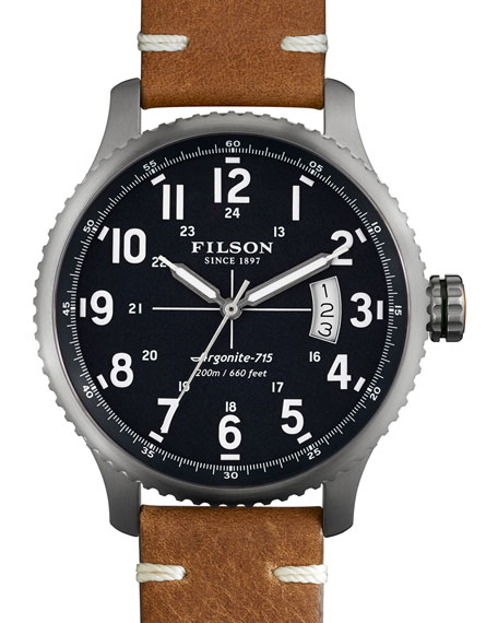 Filson 43mm Mackinaw Field Watch with Leather Strap, Brown/Navy