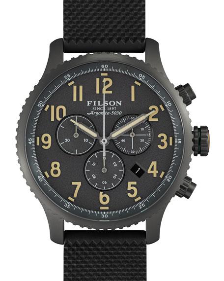 Filson 43mm Mackinaw Field Chrono Watch with Rubber Strap, Black/Gray
