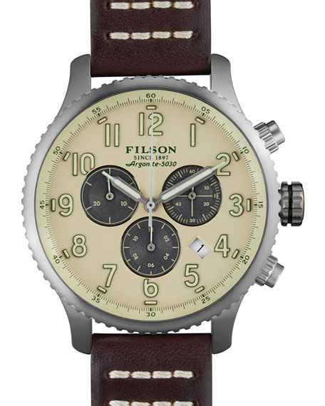 Filson 43mm Mackinaw Field Chrono Watch with Leather Strap, Brown/Cream