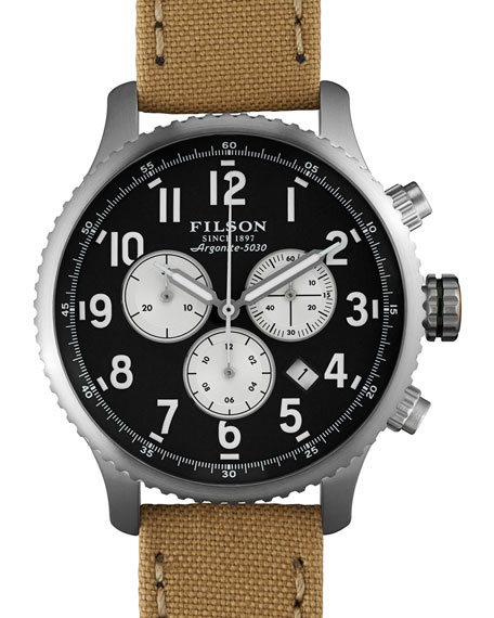 Filson 43mm Mackinaw Field Chrono Watch with Cloth Strap, Tan/Navy