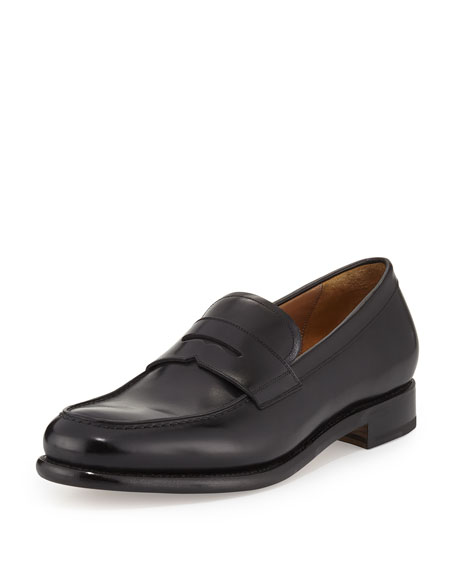 Men's Tramezza Calfskin Penny Loafer, Black