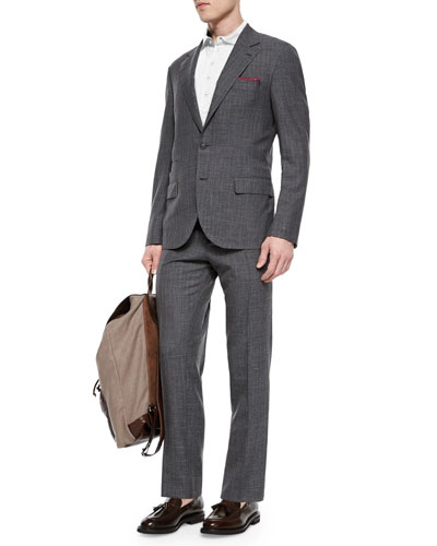 Pinstripe Two-Piece Wool Suit, Gray/Brown