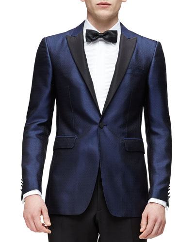 Peak-Lapel Silk Evening Jacket, Navy