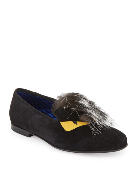 Fendi Monster Fur Evening Slipper, Black