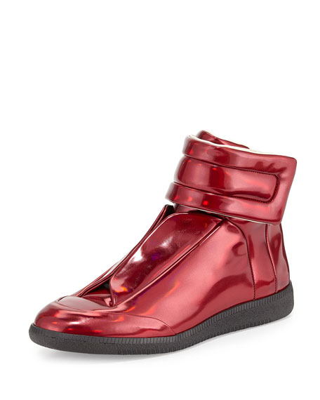 maison margiela future leather high top sneaker metallic red. Black Bedroom Furniture Sets. Home Design Ideas